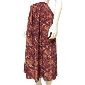Vintage Leslie Fay Pleated Paisley Midi Skirt